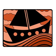 Boat - red Fleece Blanket (Small)