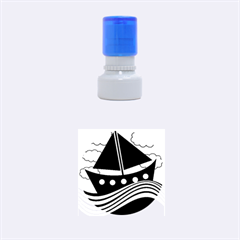 Boat - red Rubber Round Stamps (Small)