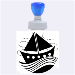 Boat - red Rubber Round Stamps (Large)