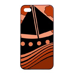 Boat - red Apple iPhone 4/4s Seamless Case (Black)