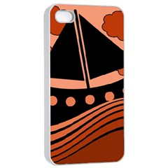Boat - red Apple iPhone 4/4s Seamless Case (White)