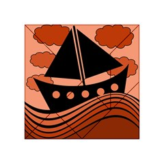 Boat - red Acrylic Tangram Puzzle (4  x 4 )