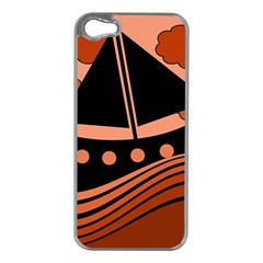 Boat - red Apple iPhone 5 Case (Silver)