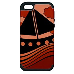 Boat - red Apple iPhone 5 Hardshell Case (PC+Silicone)