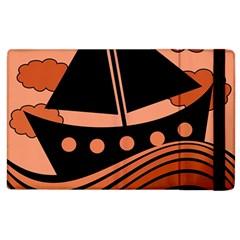 Boat - red Apple iPad 3/4 Flip Case