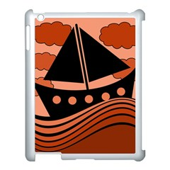 Boat - red Apple iPad 3/4 Case (White)