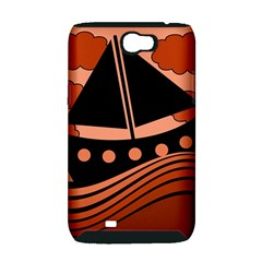 Boat - red Samsung Galaxy Note 2 Hardshell Case (PC+Silicone)