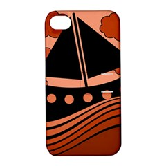 Boat - red Apple iPhone 4/4S Hardshell Case with Stand