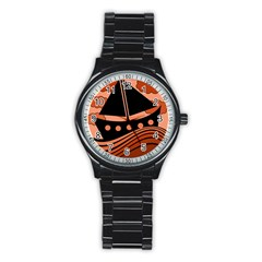 Boat - red Stainless Steel Round Watch