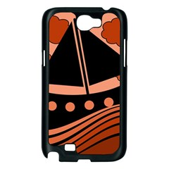 Boat - red Samsung Galaxy Note 2 Case (Black)
