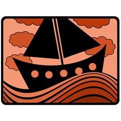 Boat - red Double Sided Fleece Blanket (Large)