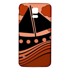 Boat - red Samsung Galaxy S5 Back Case (White)