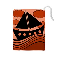 Boat - red Drawstring Pouches (Large)