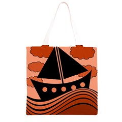 Boat - red Grocery Light Tote Bag