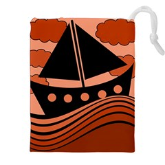 Boat - red Drawstring Pouches (XXL)