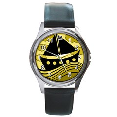Boat - yellow Round Metal Watch