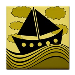 Boat - yellow Tile Coasters