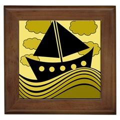 Boat - yellow Framed Tiles