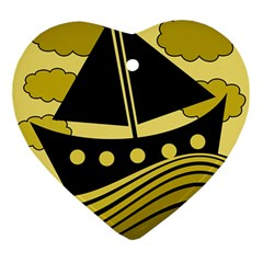 Boat - yellow Ornament (Heart)