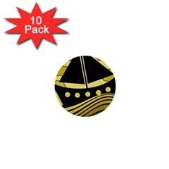 Boat - yellow 1  Mini Buttons (10 pack)