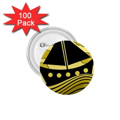 Boat - yellow 1.75  Buttons (100 pack)