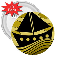 Boat - yellow 3  Buttons (10 pack)