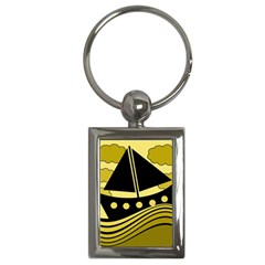 Boat - yellow Key Chains (Rectangle)