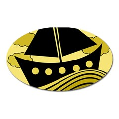 Boat - yellow Oval Magnet