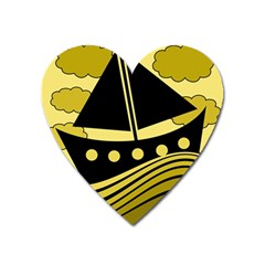 Boat - yellow Heart Magnet