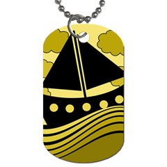 Boat - yellow Dog Tag (Two Sides)
