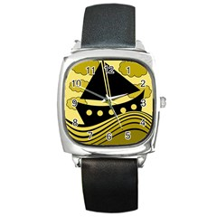 Boat - yellow Square Metal Watch