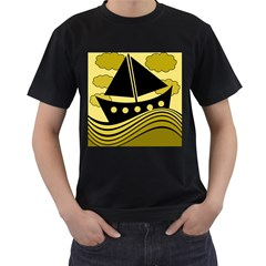 Boat - yellow Men s T-Shirt (Black) (Two Sided)