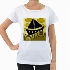 Boat - yellow Women s Loose-Fit T-Shirt (White)