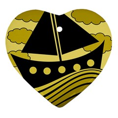 Boat - yellow Heart Ornament (2 Sides)