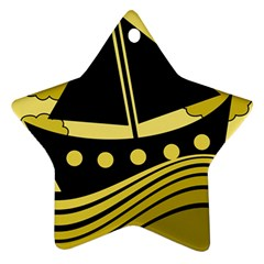 Boat - yellow Star Ornament (Two Sides)