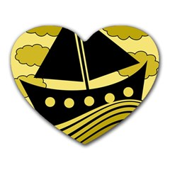 Boat - yellow Heart Mousepads