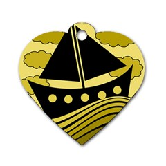 Boat - yellow Dog Tag Heart (One Side)