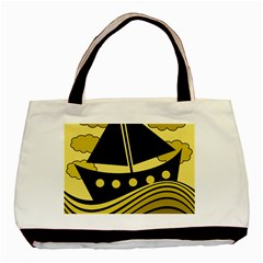 Boat - yellow Basic Tote Bag (Two Sides)