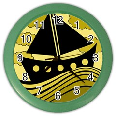 Boat - yellow Color Wall Clocks