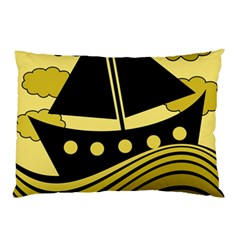 Boat - yellow Pillow Case