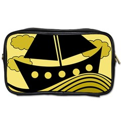 Boat - yellow Toiletries Bags 2-Side