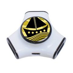 Boat - yellow 3-Port USB Hub