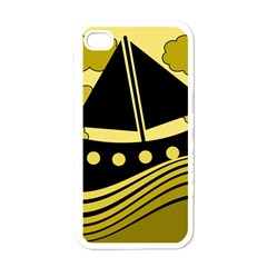 Boat - yellow Apple iPhone 4 Case (White)