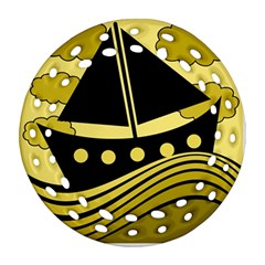 Boat - yellow Round Filigree Ornament (2Side)