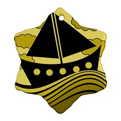 Boat - yellow Snowflake Ornament (2-Side)