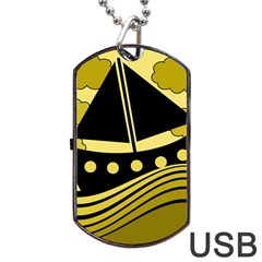 Boat - yellow Dog Tag USB Flash (Two Sides)