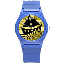 Boat - yellow Round Plastic Sport Watch (S)
