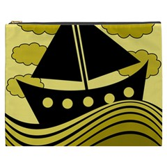 Boat - yellow Cosmetic Bag (XXXL)