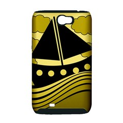 Boat - yellow Samsung Galaxy Note 2 Hardshell Case (PC+Silicone)