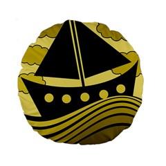 Boat - yellow Standard 15  Premium Round Cushions